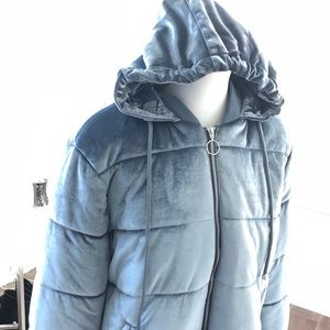 NWT Forever 21 velvet puffer bomber hooded jacket